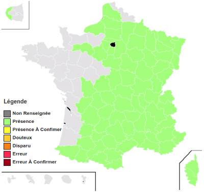 Carte de répartition en France métro.